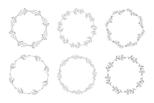 Ilustración de conjunto de marcos florales de invitación de boda