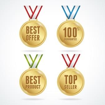 Ilustración. conjunto de medallas sobre fondo blanco. concepto de venta