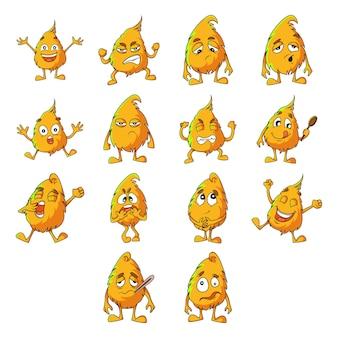 Ilustración de conjunto de monstruo amarillo.