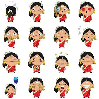 Ilustración de conjunto de mujer del sur de india