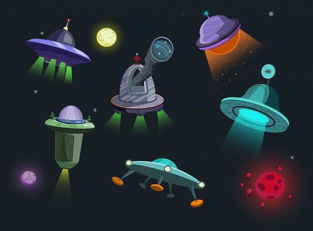 Ilustración de conjunto de naves espaciales