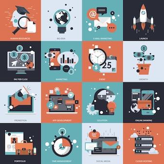 Ilustración de conjunto de negocios y tecnología
