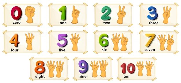 Ilustración de un conjunto de número 1 a 10