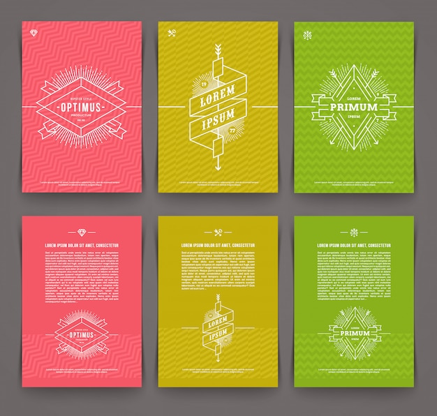 Ilustración - conjunto de página de folleto de plantilla abstracta con emblema de línea dibujada