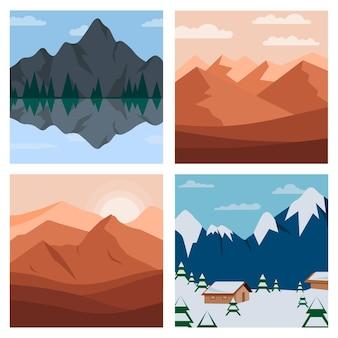Ilustración de conjunto de paisaje de diferentes montañas. montaña y bosque con colinas y árboles ilustración.