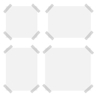 Ilustración de conjunto de papel con cinta sobre fondo blanco