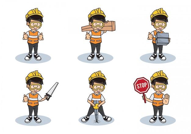 Ilustración del conjunto de paquete de la colección de trabajadores de la construcción o carácter de hombre de seguridad profesional con diferentes actividades.