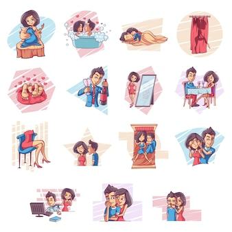 Ilustración de conjunto de pareja.
