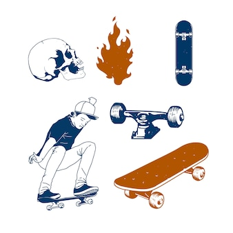 Ilustración conjunto de patineta