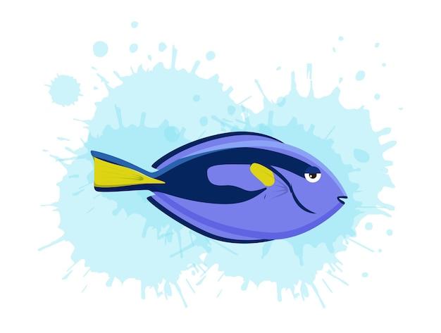Ilustración de conjunto de peces de colores tropicales de vida marina
