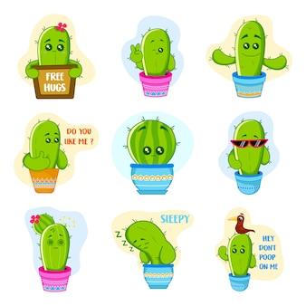 Ilustración del conjunto de pegatinas cute cactus