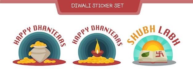 Ilustración del conjunto de pegatinas diwali