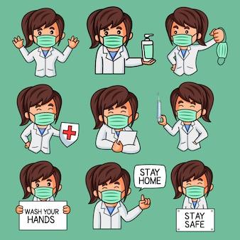 Ilustración del conjunto de pegatinas lady doctor