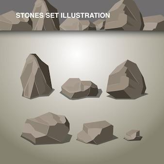 Ilustración conjunto de piedras