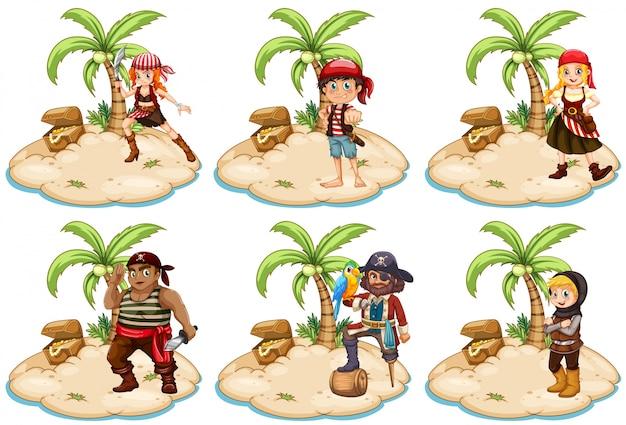 Ilustración del conjunto de piratas en la isla