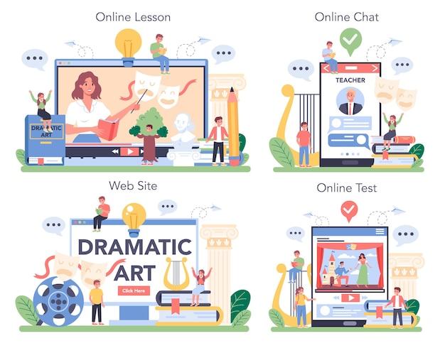 Ilustración de conjunto de plataforma o servicio en línea de clase de drama en estilo de dibujos animados