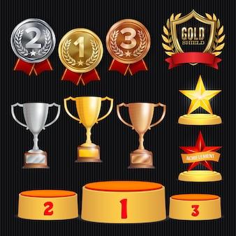 Ilustración de conjunto de premios de trofeo