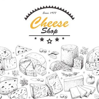 Ilustración de conjunto de queso