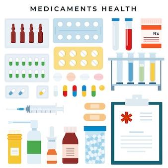 Ilustración de conjunto de salud de diferentes medicamentos