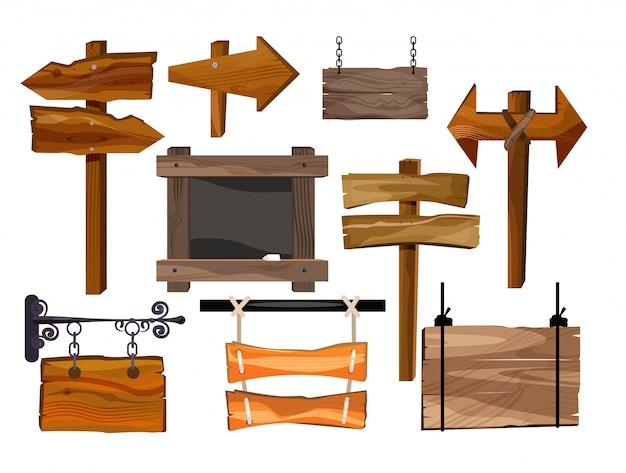 Ilustración de conjunto de signos de madera