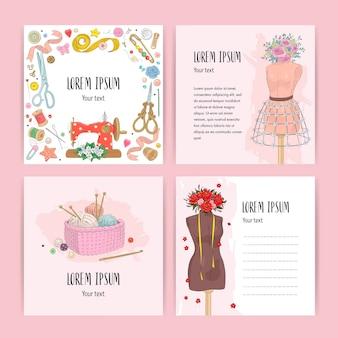 Ilustración de conjunto de tarjetas de costura