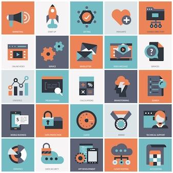 Ilustración de conjunto de tecnología y gestión empresarial
