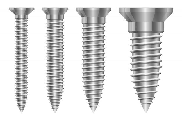 Ilustración de conjunto de tornillo aislado sobre fondo blanco