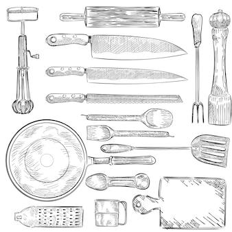 Ilustración de un conjunto de utensilios de cocina