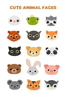 Ilustración de conjunto de vector plano de caras de animales lindos.
