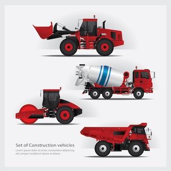 Ilustración de conjunto de vehículos de construcción