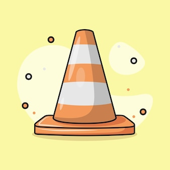 Ilustración de un cono divisor de carreteras