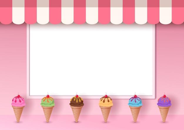 Ilustración del cono de helado decorado en café rosa con fondo de tablero de marco blanco en estilo 3d