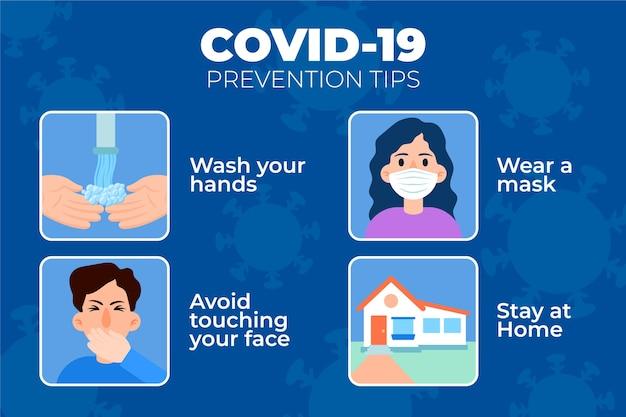Ilustración de consejos de prevención de coronavirus