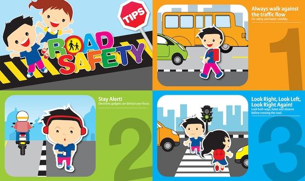 Ilustración de consejos de seguridad vial con reglas de oro que deben seguir los niños y el diseño de adultos 1