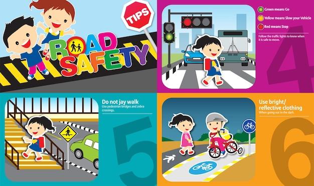 Ilustración de consejos de seguridad vial con reglas de oro que deben seguir los niños y el diseño de adultos 2