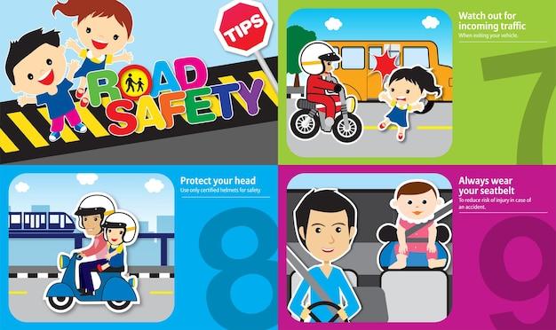 Ilustración de consejos de seguridad vial con reglas de oro que deben seguir los niños y el diseño de adultos 3
