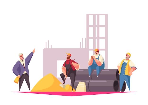Ilustración de construcción con capataz dando instrucciones al equipo de constructores vestidos con uniforme y cascos