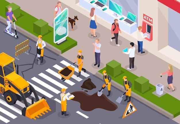 Ilustración de construcción de carreteras en color e isométrica