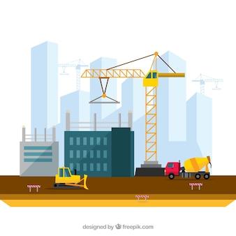 Ilustración construyendo una ciudad en diseño plano