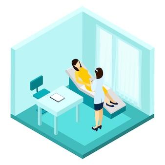 Ilustración de consulta de embarazo