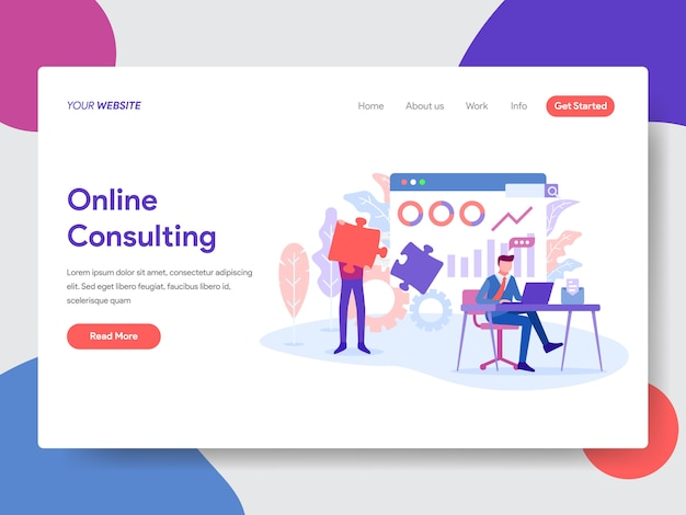 Ilustración de consulta en línea para página de inicio
