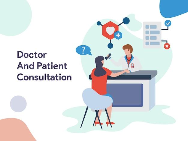 Ilustración de consulta médica y paciente
