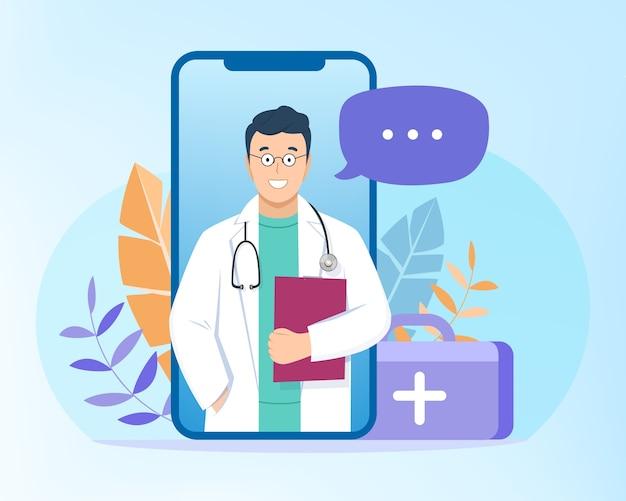 Ilustración de consulta de videollamada médica