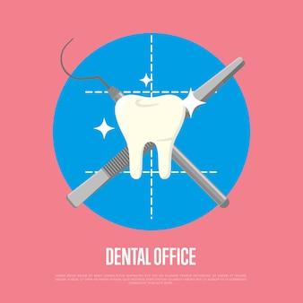 Ilustración de consultorio dental con jeringa y bisturí