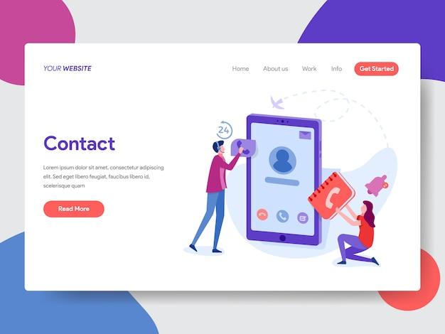 Ilustración de contactos telefónicos para la página de inicio