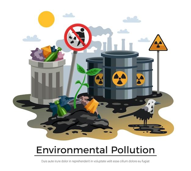 Ilustración de contaminación ambiental