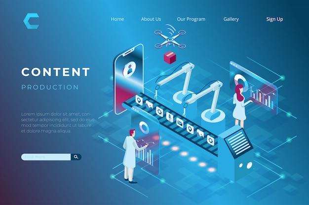 Ilustración de contenido de producción de redes sociales y sitio web / blog, ilustración de integración de la industria con digital en estilo isométrico 3d