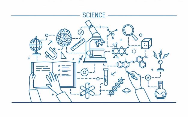 Ilustración de contorno de arte lineal. palabra de ciencia y concepto de tecnología. banner de diseño plano