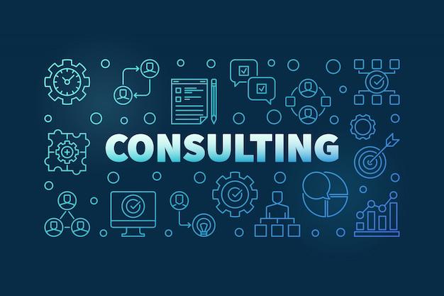 Ilustración de contorno azul de consultoría. banner moderno de vector