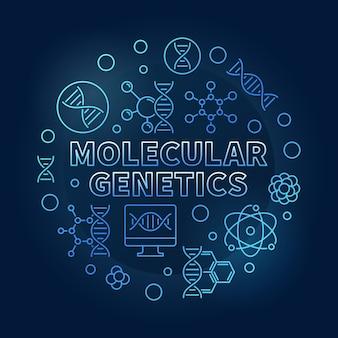 Ilustración de contorno circular azul de genética molecular